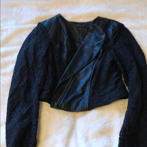 Faux leather and lace blazer